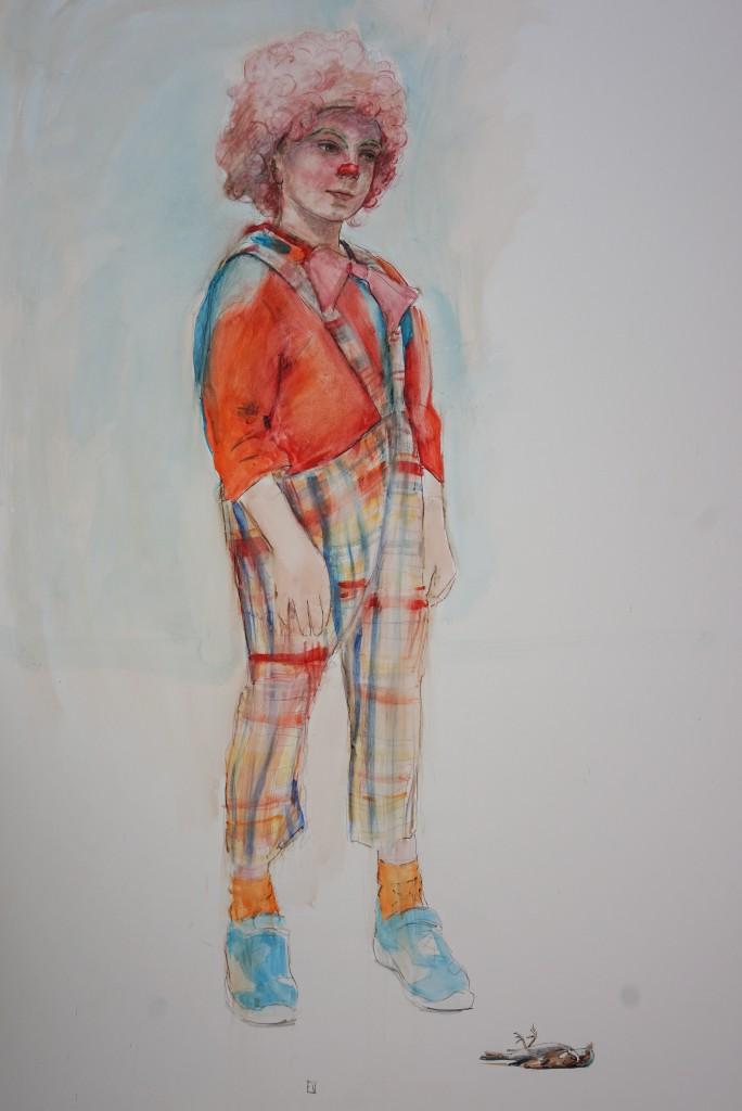 Clown, aquarelle sur carton, 150x 100cm, 2018