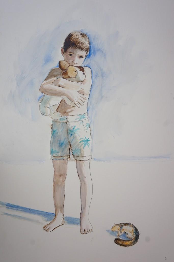 enfance, aquarelle sur carton, 150x 100cm, 2018