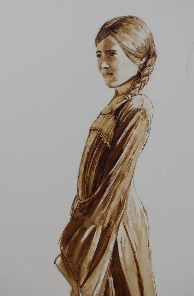 jeune fille, brou de noix sur carton, 120x 80 cm, 2016