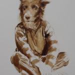 metamorphose-enfant-chien-brou-de-noix-sur-carton-120x80-cm-2016