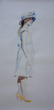 les chaussures de maman, aquarelle sur papier, 197x 106 cm, 2017