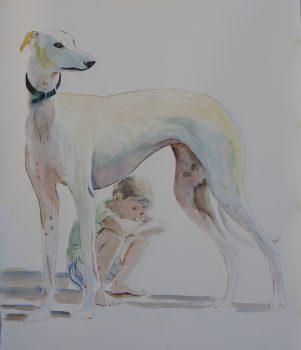 levrier, aquarelle sur papier, 147x116cm, 2017